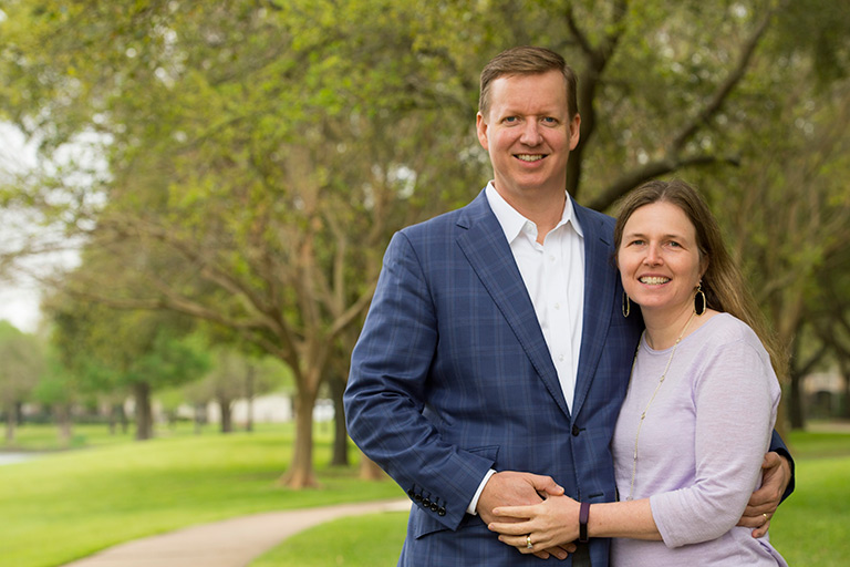 David and Ann Heikkinen of Houston, Texas, pose in a park near her medical practice in Sugarland, Texas.