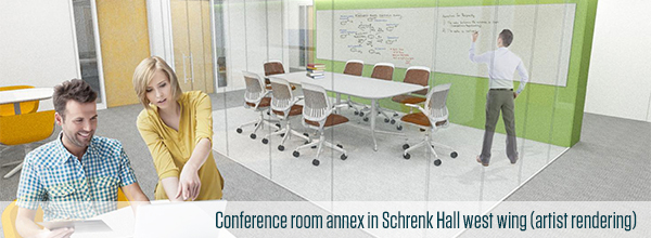 A mockup of a collaborative learning and research space in Schrenk Hall's west wing.