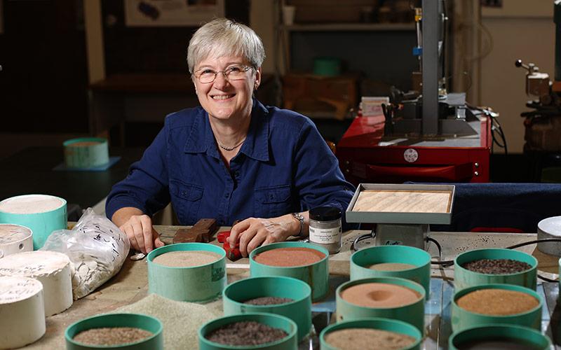 Dr. Leslie Gertsch working with meteorite samples