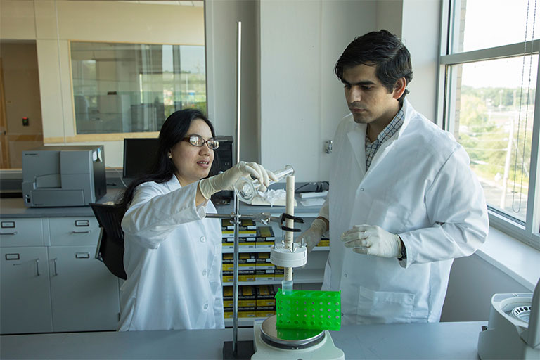 r. Sutapa Barua and doctoral student Sidharth Razdan demonstrate the endotoxin removal process.
