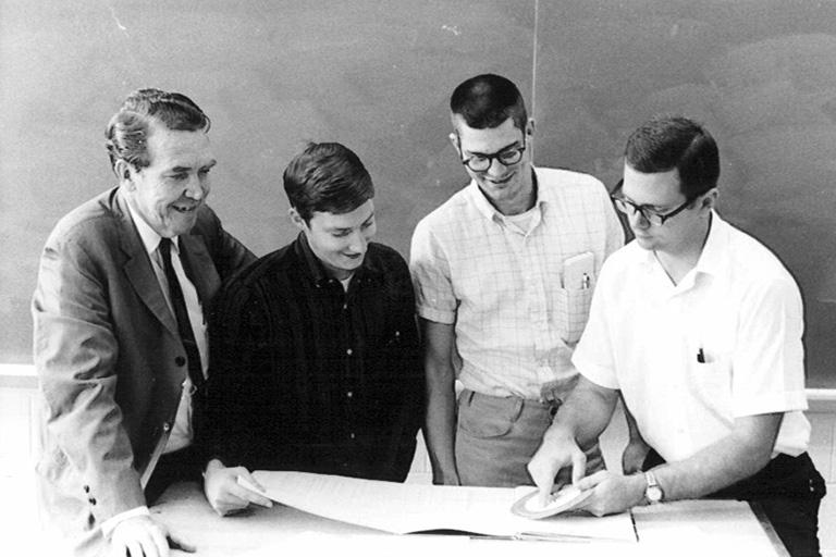 Professor Bernard Sarchet with students