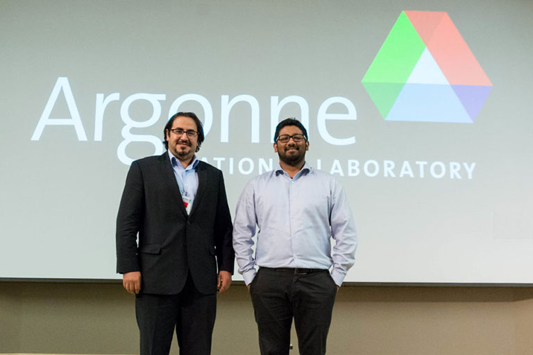 Missouri S&T nuclear engineering student Bader Almutairi (left) with his co-advisor Dr. Syed Bahauddin Alam (right)